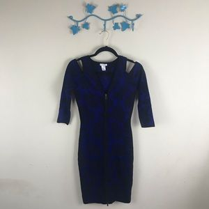Cache Dress Fitted Front Zip Slight Cold Shoulder